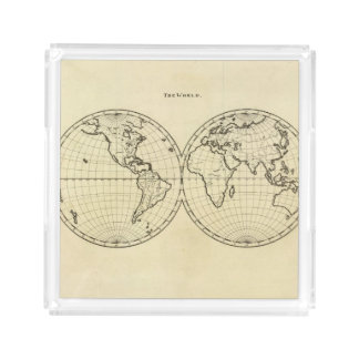 World outline double hemisphere acrylic tray