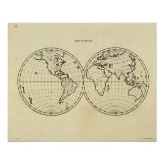 World outline double hemisphere poster