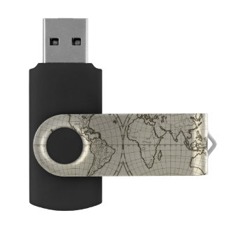 World outline double hemisphere USB flash drive