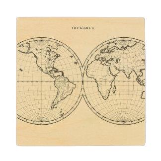 World outline double hemisphere wood coaster