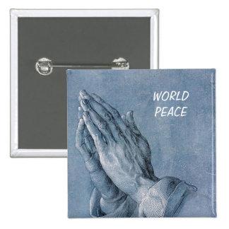 world peace 15 cm square badge
