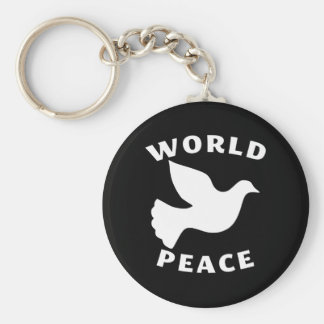 World Peace Basic Round Button Key Ring