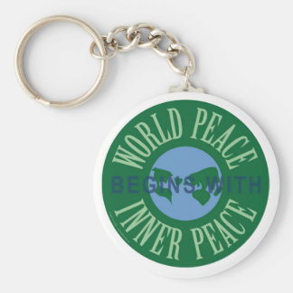 World Peace Begins With Inner Peace Keychain