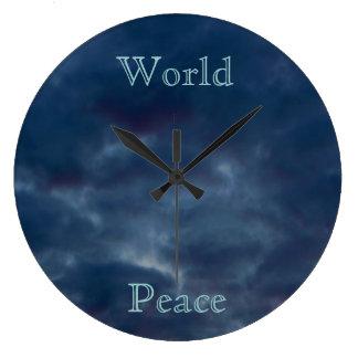 World Peace Blue Clouds Large Clock