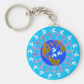 World Peace by Metin Basic Round Button Key Ring