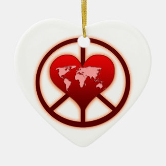 World Peace Ceramic Heart Decoration