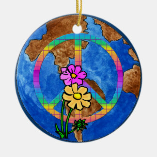 World Peace Colors Round Ceramic Decoration