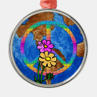World Peace Colors Silver-Colored Round Decoration