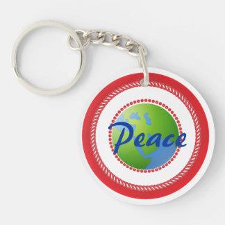 World Peace Double-Sided Round Acrylic Key Ring