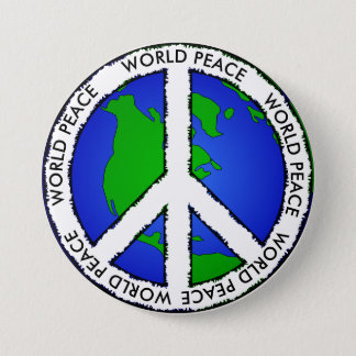 World Peace Earth and Peace Sign Button