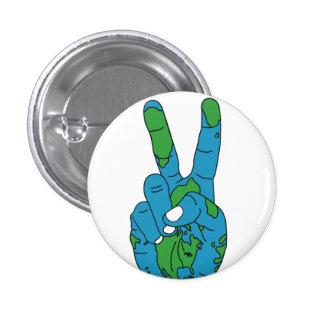 World peace hand 3 cm round badge