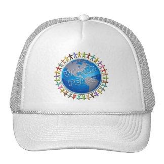 WORLD PEACE HANDS AROUND THE WORLD TRUCKER HAT