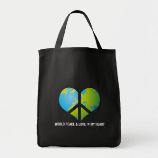 World Peace & Love in my Heart Tote Bags