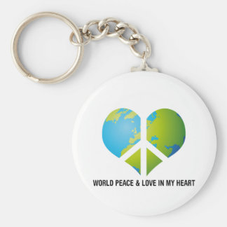 World Peace & Love in my Heart Basic Round Button Key Ring