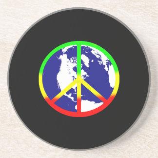 World Peace On Black Coasters