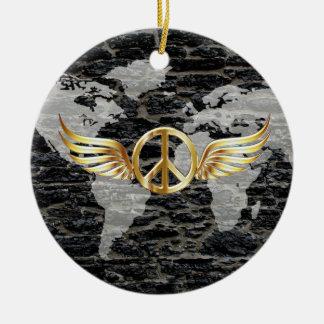 World peace round ceramic decoration