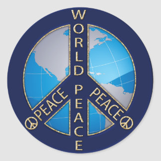 WORLD PEACE SIGN CLASSIC ROUND STICKER