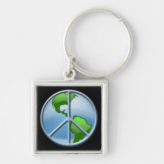 World Peace Silver-Colored Square Key Ring