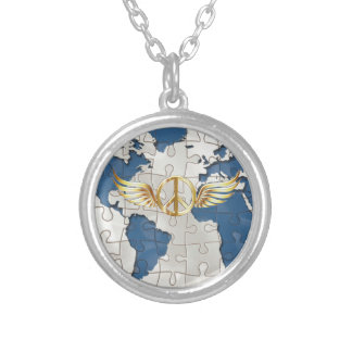 World peace silver plated necklace