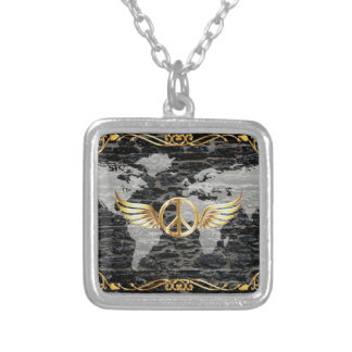 World peace square pendant necklace