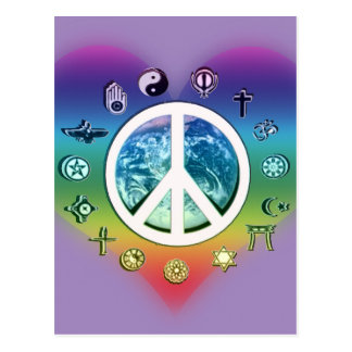 World Peace with Religious Symbols Postcard