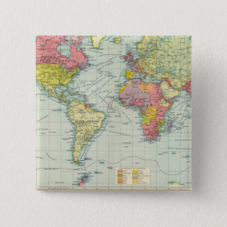 World political Map 15 Cm Square Badge