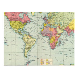 World political Map Postcard