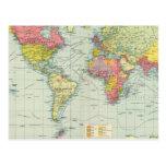 World political Map Postcards