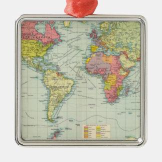 World political Map Silver-Colored Square Decoration
