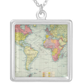 World political Map Silver Plated Necklace