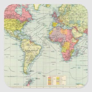 World political Map Square Sticker