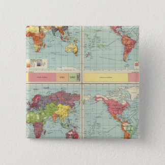 World population Map 15 Cm Square Badge