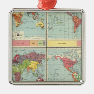 World population Map Christmas Ornament