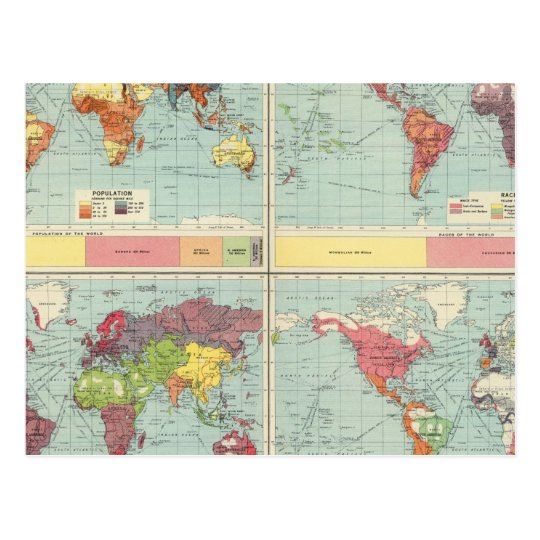 World population Map Postcard