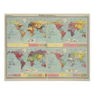 World population Map Poster