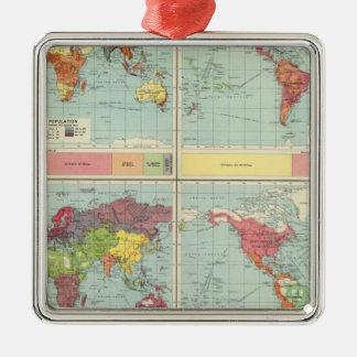 World population Map Silver-Colored Square Decoration