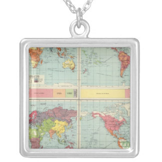 World population Map Square Pendant Necklace