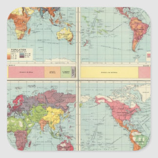 World population Map Square Sticker