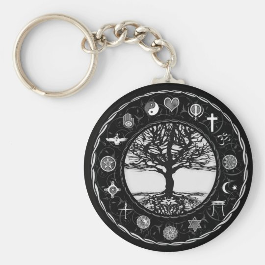 World Religions Black and White Tree Basic Round Button Key Ring