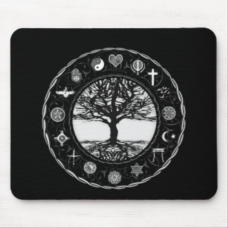 World Religions Black and White Tree Mouse Mat
