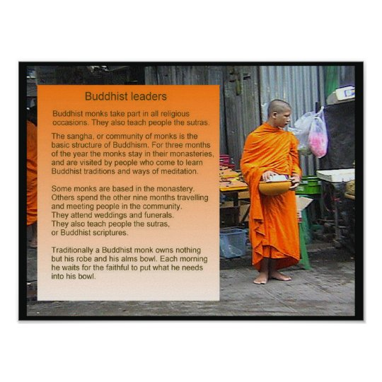 World Religions, Buddhidm, Buddhist leaders, monks Poster