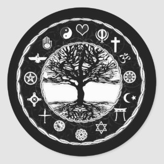 World Religions Peace Tree of Life Classic Round Sticker
