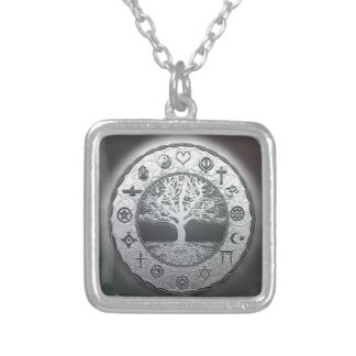 World Religions Tree of Life Silver Plated Necklace