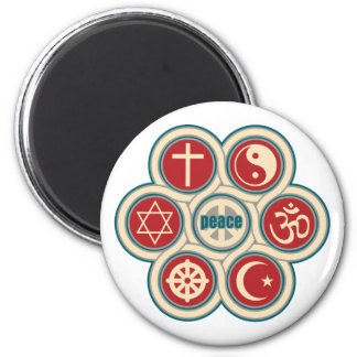 World Religious Peace 6 Cm Round Magnet