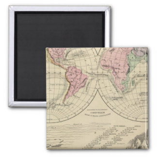 World, river systems square magnet