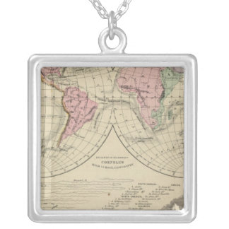 World, river systems square pendant necklace