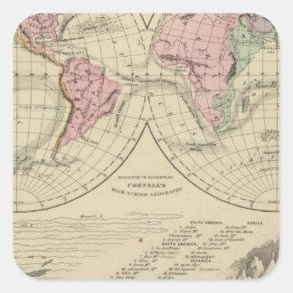World, river systems square sticker