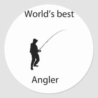 World s best angler round sticker