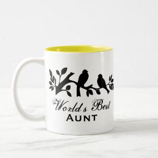 World s Best Aunt sparrows silhouette branch mug