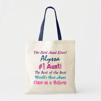 World s Best AuntCustom Name Navy and Pink Text Bags